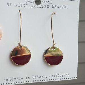 MODCLOTH Beijo Brasil red gold drop earrings